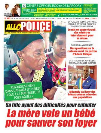 Couverture du Journal ALLO POLICE N° 463 du 03/12/2018