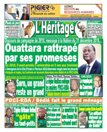 Couverture du Journal L'HÉRITAGE N° 143 du 07/01/2019