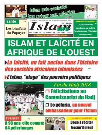 Couverture du Journal ISLAM INFO N° 664 du 05/09/2018