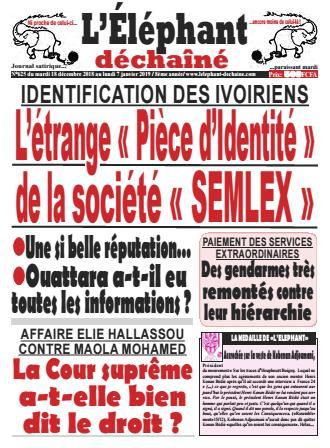 Couverture du Journal L'ÉLÉPHANT DÉCHAINÉ N° 625 du 18/12/2018
