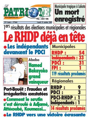 Couverture du Journal LE PATRIOTE N° 5648 du 15/10/2018