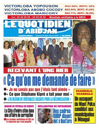 Couverture du Journal LE QUOTIDIEN D'ABIDJAN N° 2346 du 29/08/2018