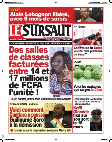 Couverture du Journal LE SURSAUT N° 608 du 14/02/2019