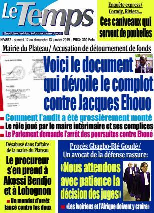 Couverture du Journal LE TEMPS N° 4572 du 12/01/2019