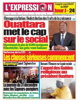 Couverture du Journal L'EXPRESSION N° 2684 du 02/01/2019