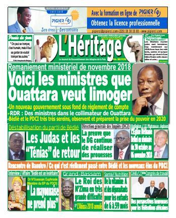 Couverture du Journal L'HÉRITAGE N° 136 du 29/10/2018