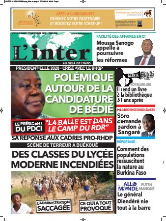 Couverture du Journal L'INTER N° 6126 du 27/11/2018