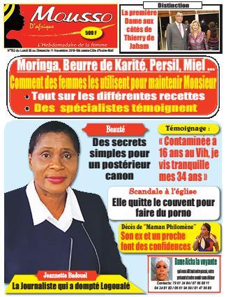 Couverture du Journal MOUSSO D'AFRIQUE N° 763 du 05/11/2018