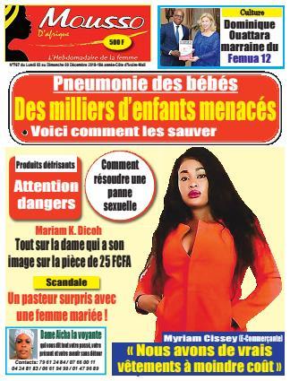 Couverture du Journal MOUSSO D'AFRIQUE N° 767 du 03/12/2018