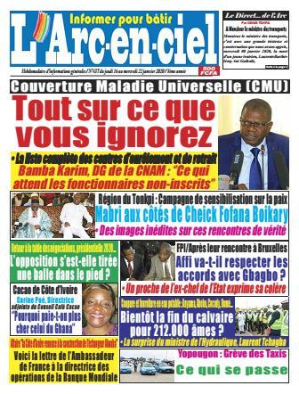 Couverture du Journal ARC EN CIEL N° 436 du 16/01/2020