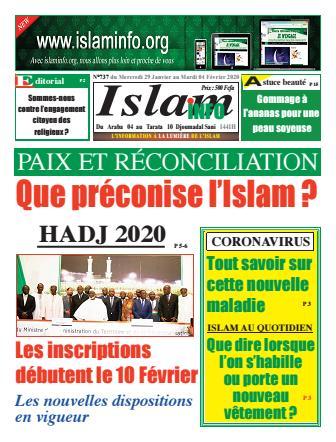 Couverture du Journal ISLAM INFO N° 737 du 29/01/2020