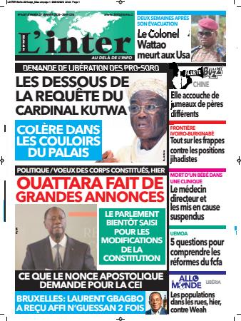 Couverture du Journal L'INTER N° 6456 du 07/01/2020