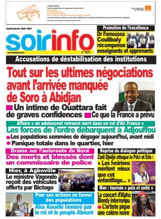 Couverture du Journal SOIR INFO N° 7571 du 14/01/2020