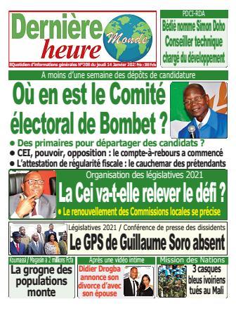 Couverture du Journal DERNIERE HEURE N° 209 du 14/01/2021