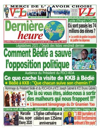 Couverture du Journal DERNIERE HEURE N° 215 du 25/01/2021