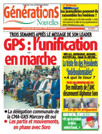 Couverture du Journal Générations nouvelles N° 586 du 25/01/2021