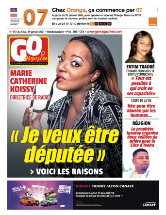 Couverture du Journal GO MAGAZINE N° 851 du 14/01/2021