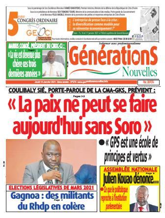 Couverture du Journal Générations nouvelles N° 580 du 14/01/2021