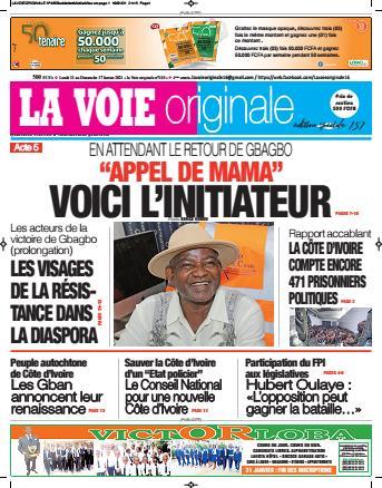 Couverture du Journal LA VOIE ORIGINALE N° 485 du 11/01/2021