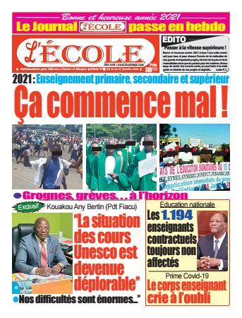 Couverture du Journal L'Ecole N° 12 du 13/01/2021