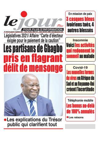 Couverture du Journal LE JOUR PLUS N° 4520 du 14/01/2021