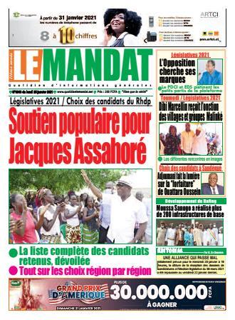 Couverture du Journal LE MANDAT N° 3043 du 25/01/2021
