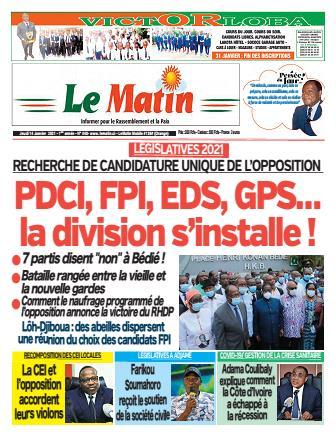 Couverture du Journal LE MATIN N° 440 du 14/01/2021