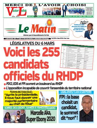 Couverture du Journal LE MATIN N° 449 du 25/01/2021