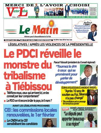 Couverture du Journal LE MATIN N° 451 du 27/01/2021