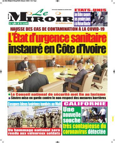 Couverture du Journal LE MIROIR D'ABIDJAN N° 136 du 22/01/2021