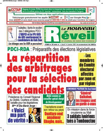 Couverture du Journal LE NOUVEAU RÉVEIL N° 5661 du 14/01/2021