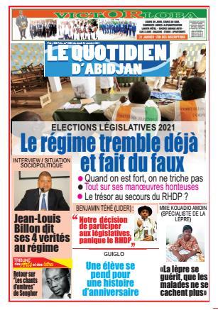 Couverture du Journal LE QUOTIDIEN D'ABIDJAN N° 3003 du 14/01/2021