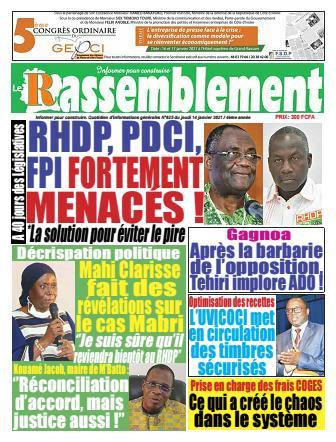 Couverture du Journal LE RASSEMBLEMENT N° 626 du 14/01/2021