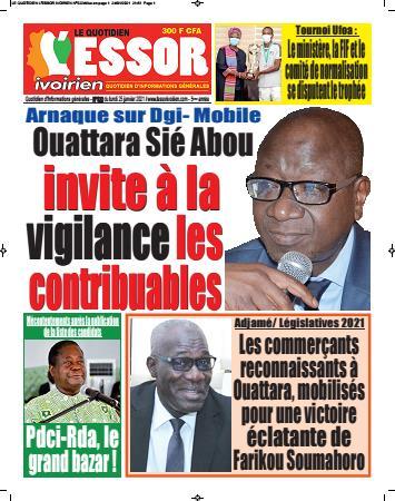Couverture du Journal L'ESSOR IVOIRIEN N° 522 du 25/01/2021