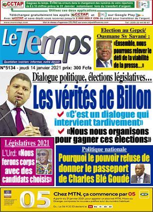 Couverture du Journal LE TEMPS N° 5135 du 14/01/2021