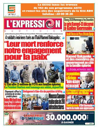 Couverture du Journal L'EXPRESSION N° 3223 du 25/01/2021