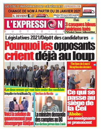 Couverture du Journal L'EXPRESSION N° 3215 du 14/01/2021