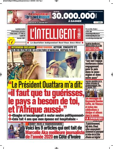 Couverture du Journal L'INTELLIGENT D'ABIDJAN N° 4785 du 25/01/2021