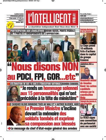 Couverture du Journal L'INTELLIGENT D'ABIDJAN N° 4785 du 14/01/2021
