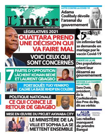 Couverture du Journal L'INTER N° 6758 du 14/01/2021