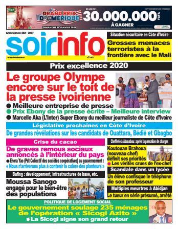Couverture du Journal SOIR INFO N° 7877 du 25/01/2021