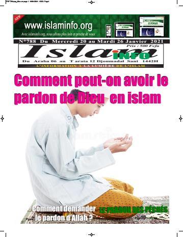 Couverture du Journal ISLAM INFO N° 788 du 20/01/2021