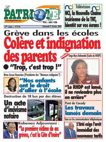 Couverture du Journal LE PATRIOTE N° 5758 du 27/02/2019