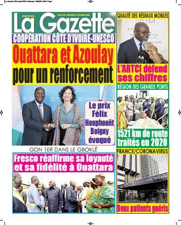 Couverture du Journal LA GAZETTE N° 814 du 14/02/2020