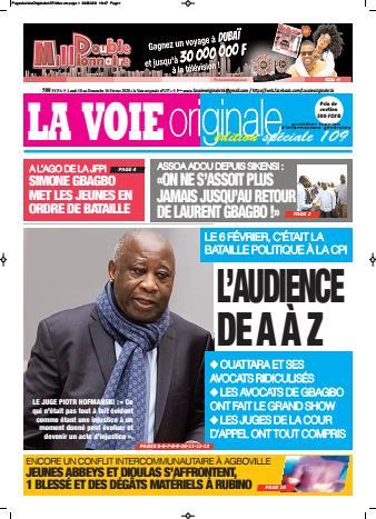 Couverture du Journal LA VOIE ORIGINALE N° 437 du 10/02/2020