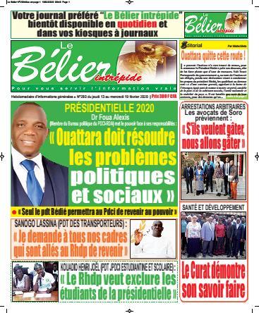 Couverture du Journal LE BELIER INTREPIDE N° 293 du 13/02/2020