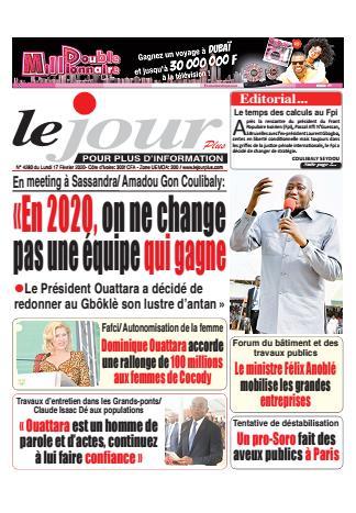Couverture du Journal LE JOUR PLUS N° 4280 du 17/02/2020