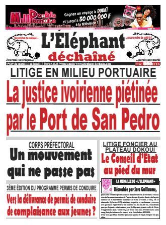 Couverture du Journal L'ÉLÉPHANT DÉCHAINÉ N° 669 du 12/02/2020