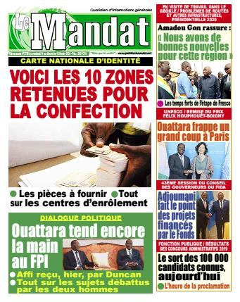 Couverture du Journal LE MANDAT N° 2799 du 14/02/2020