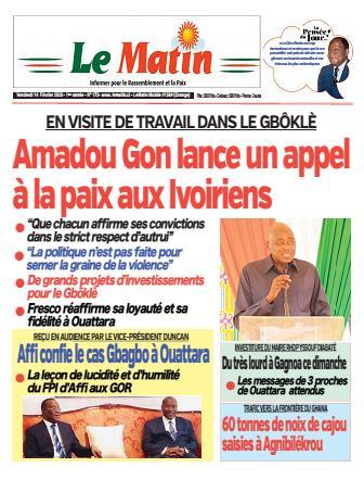 Couverture du Journal LE MATIN N° 173 du 14/02/2020